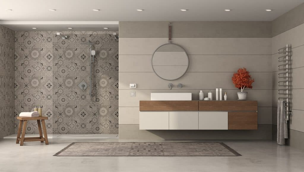 Modern bathroom with shower and washbasin